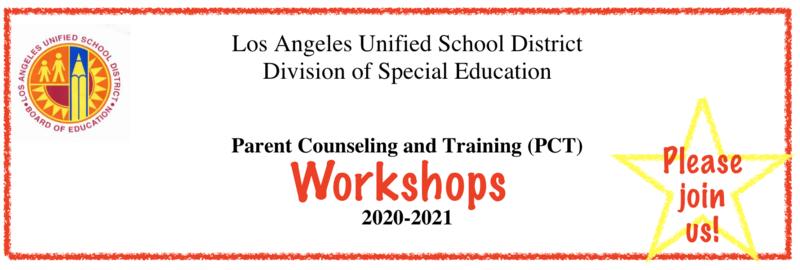 Division of Special Education Parent and Counseling Training Workshops/Talleres de capacitación para padres y consejería de la División de Educación Especial Featured Photo