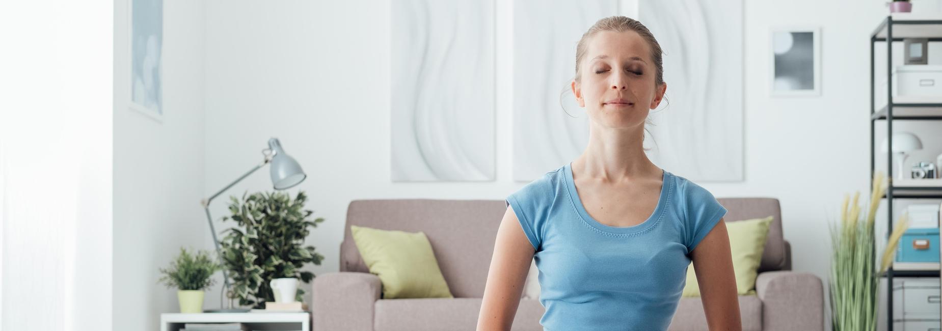 Woman Meditating in Yoga Pose