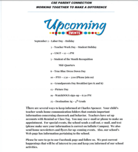 Upcoming Events September 2019