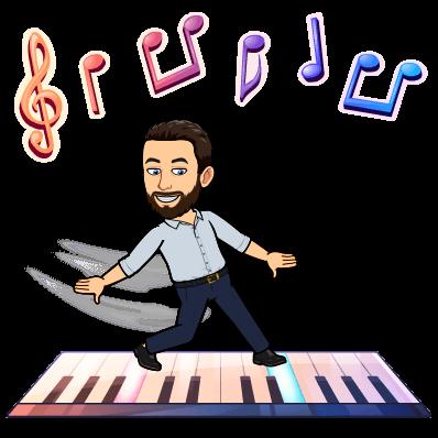 Cartoon Mr. Ristow playing a keyboard