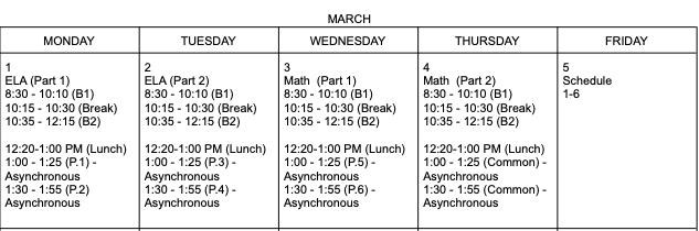 Interim Assessment Schedule.