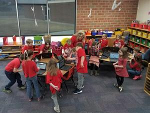 Kindergartners voting online for Canon City.
