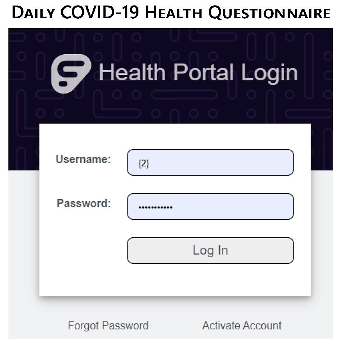 staff daily COVID questionnaire