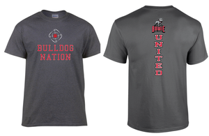 Bulldog Nation United T-shirt, dark gray with red text