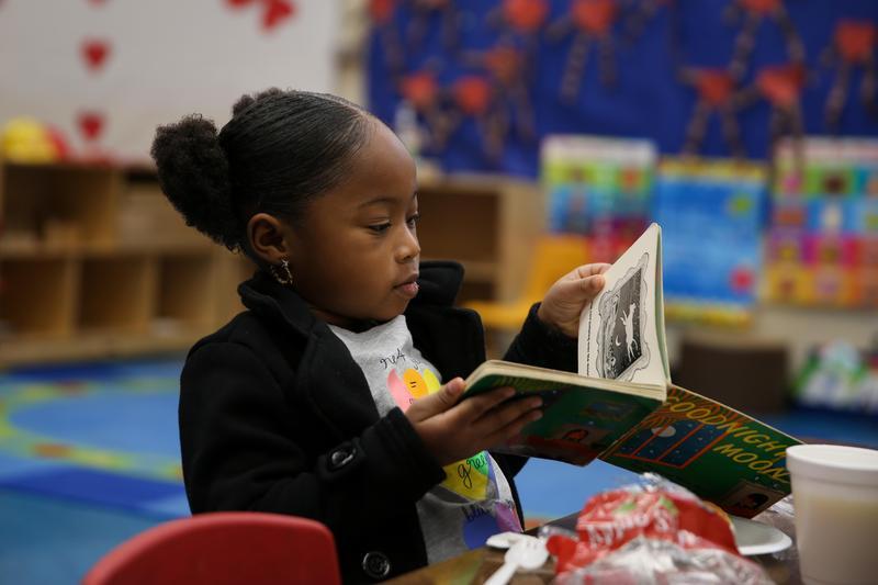 Kinder student reading