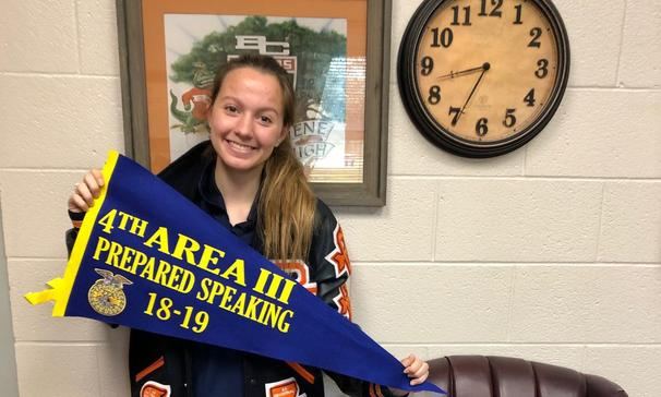 Victoria H. placed 4th at the FFA District Public Speaking Contest on December 4, 2018.