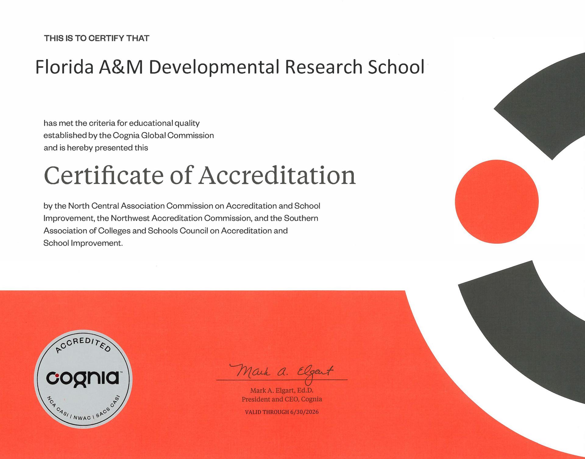 FAMU DRS Accreditation Certificate 2021-2026