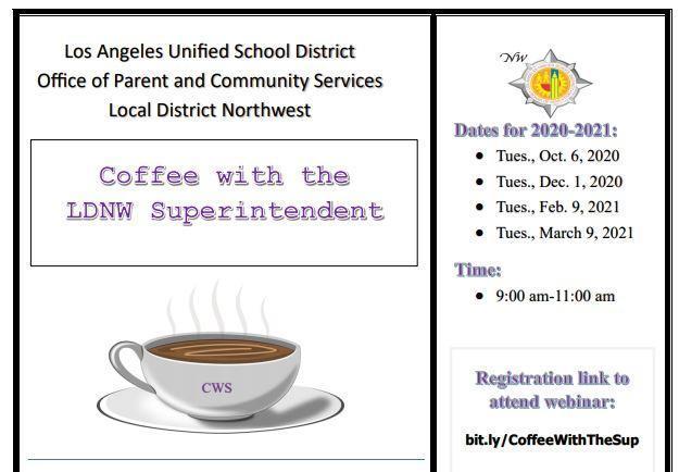 Coffee with the Superintendent - LDNW / Café con el Superintendente - LDNW Featured Photo