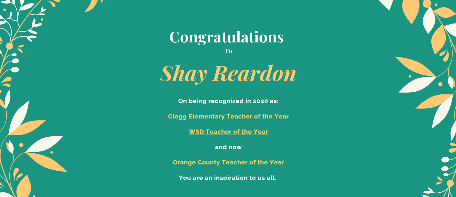 shay reardon teacher of the year image