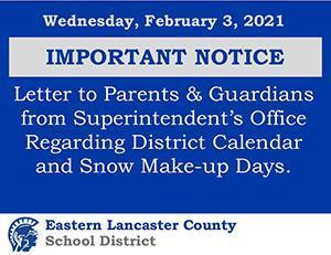 Important Notice 2.3.2021 - District Calendar Update Banner Image