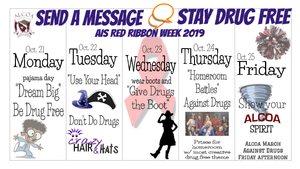 Monday is pajama day, tuesday is crazy hair and hat day, wednesday is boot day, thursday is classroom theme day, and friday is alcoa spirit day