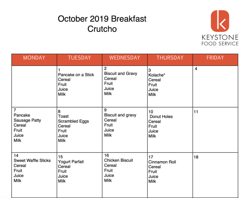 October Breakfast & Lunch Menus Featured Photo