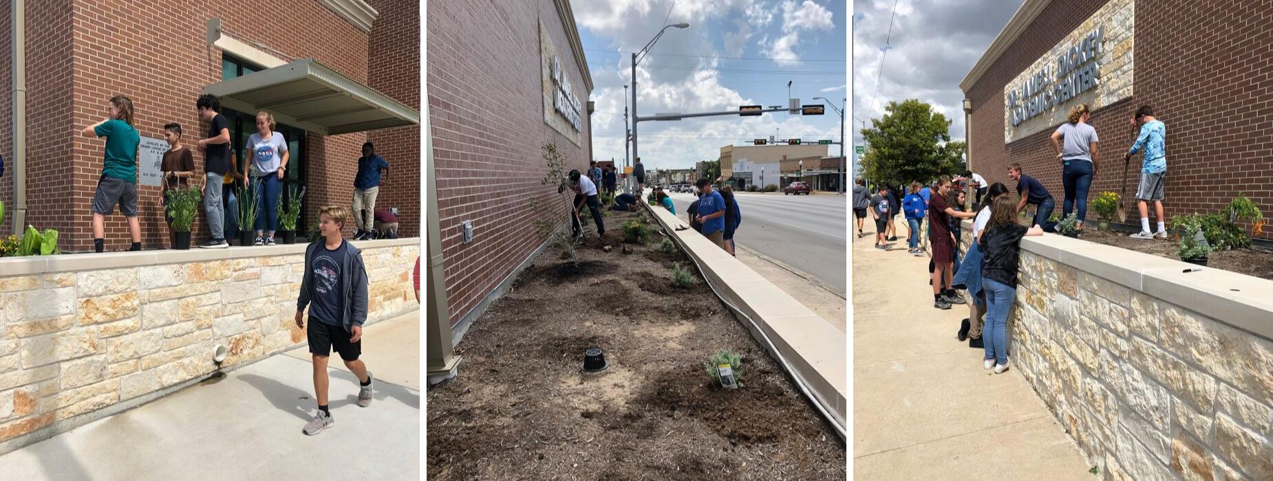 LECHS Freshmen upgrade landscaping