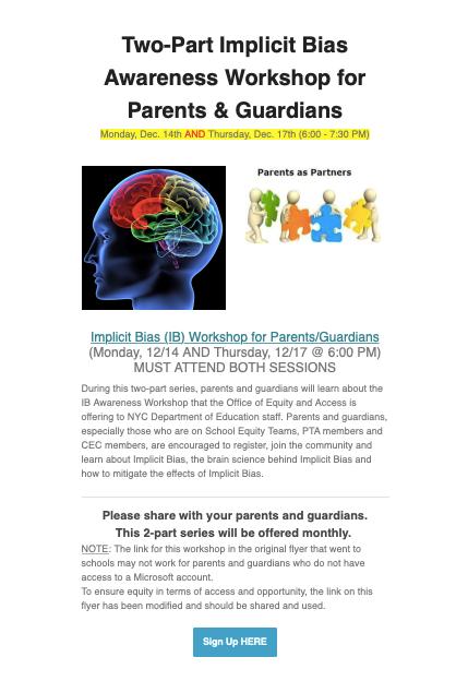 Implicit Bias (IB) Workshop for Parents/Guardians