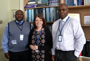 From left, NJDOE official Andre Taylor met with Director of Guidance and Counseling Maureen Mazzarese and Westfield High School principal Dr. Derrick Nelson on Jan. 11 for an overview of the many ways social and emotional learning is part of everyday education in Westfield schools.