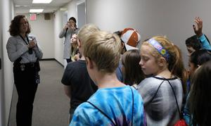 Westfield Police Detective Elizabeth Savnik gives a tour of the police department to McKinley 3rd graders on Oct. 23.