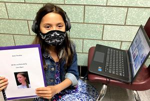 Photo of third grader at Washington School during virtual