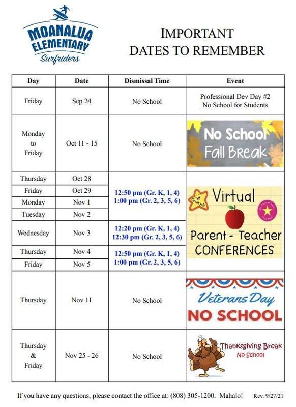Upcoming Schedule Changes for September - November 2021