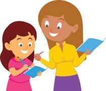 Cartoon teacher tutoring student