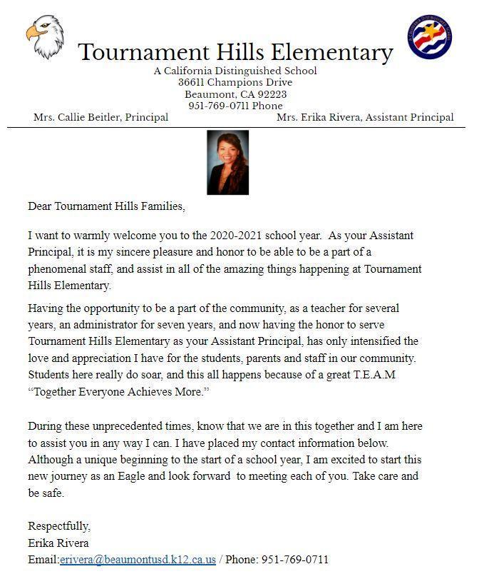 Assistant Principal Message