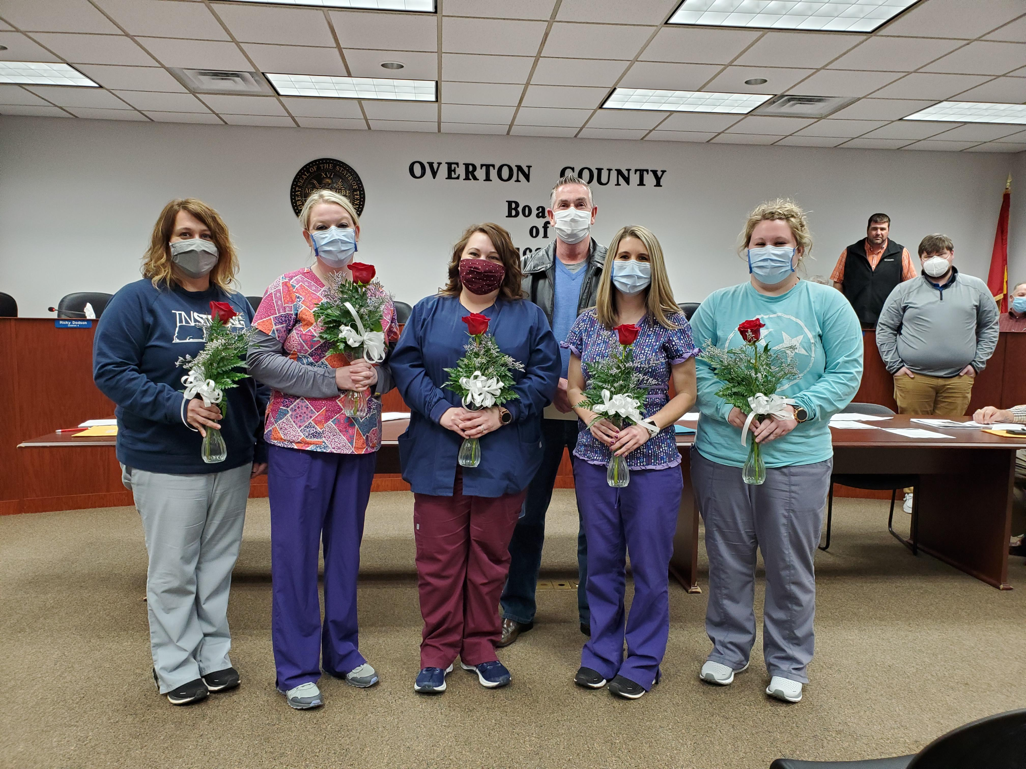 Overton County Health Department Staff:  Front row left to right:  Ginny Caudle, Ashley Walton, Rebecca Parsons, Megan Reeder, and Rebecca Vaughn.  Back Row:  Director Andy Langford