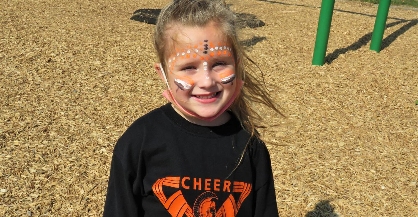 This McFall student painted her face with TK colors for Spirit Day.