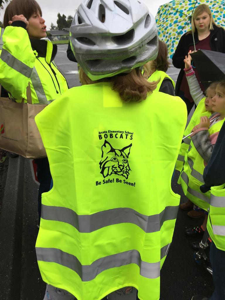 close up of safety vest and school logo