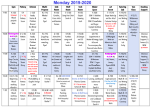 Image of a class schedule