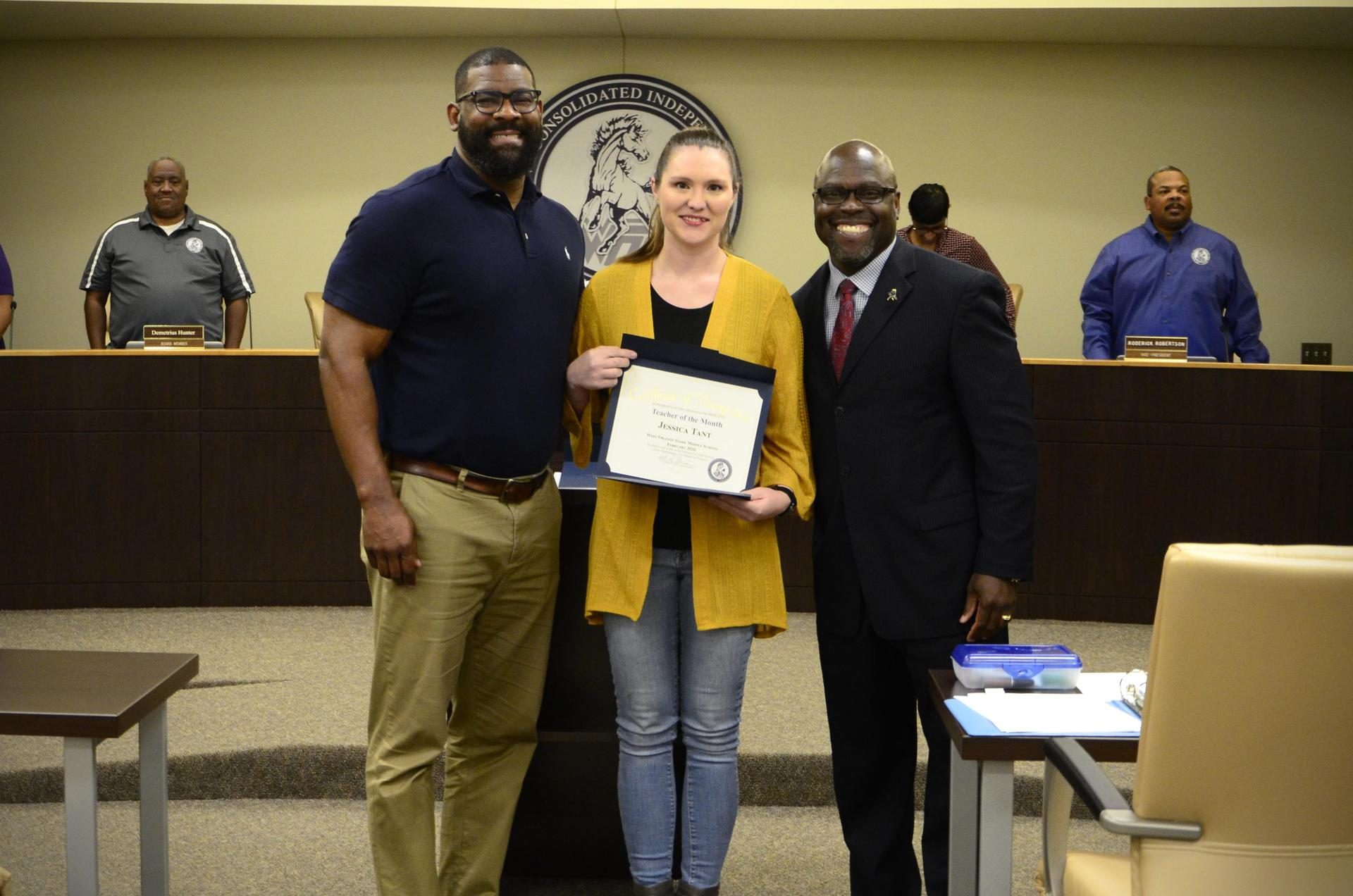 Teacher of month, Jessica Tant, pictured with Superintendent Dr. Harris and Principal Mr. McGrew