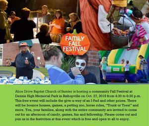 Family Fall Festival, Oct. 27