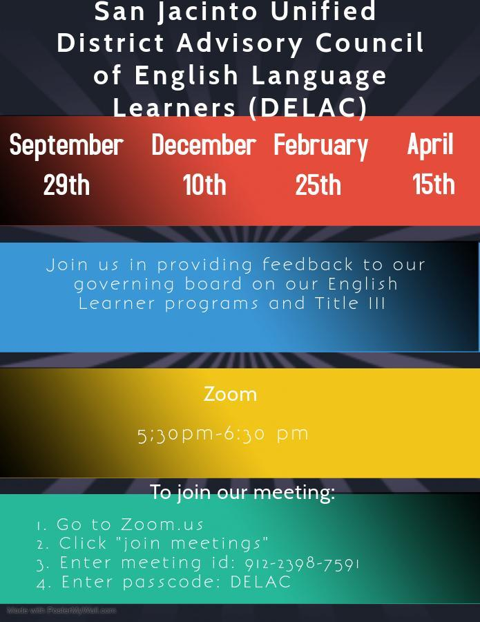 Flyer for District Advisory Council of English Language Learners