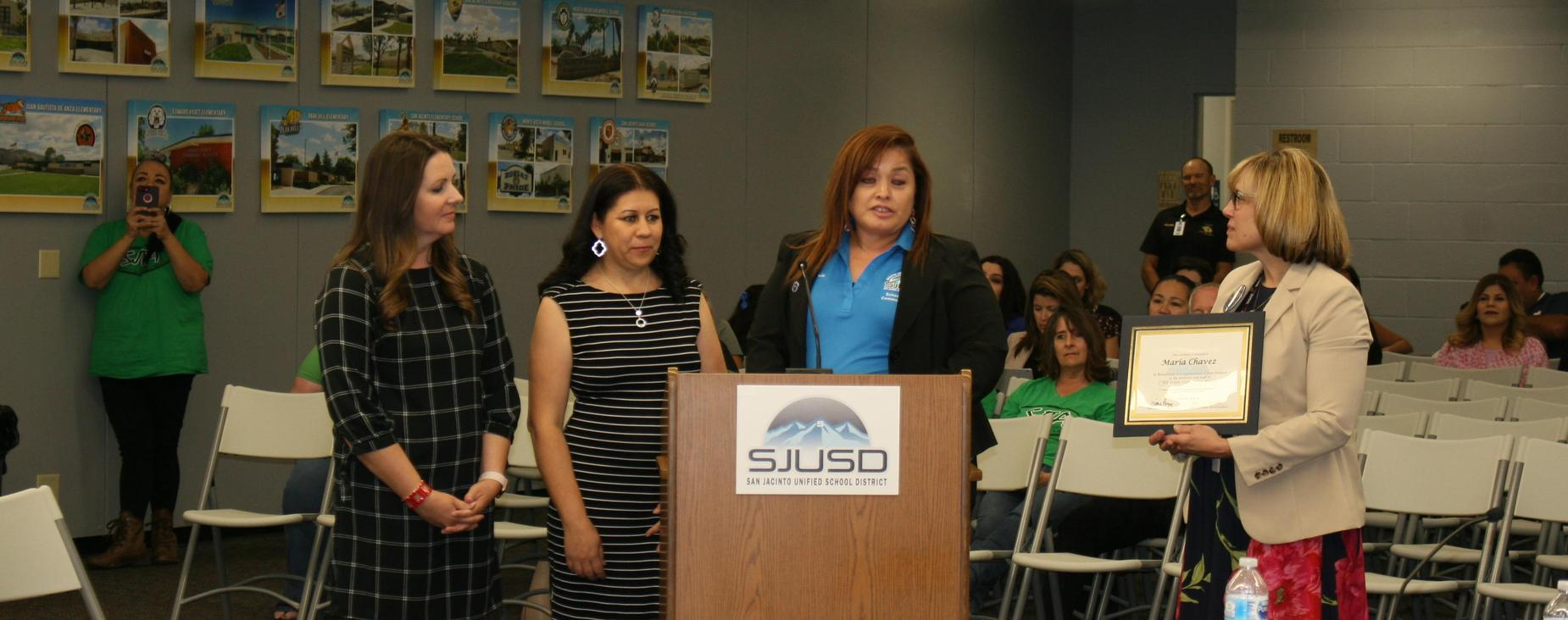 Parent Volunteer Maria Chavez was recognized by DeAnza Elementary School for volunteering not only at their school, but others as well as the SJUSD Parent Center.
