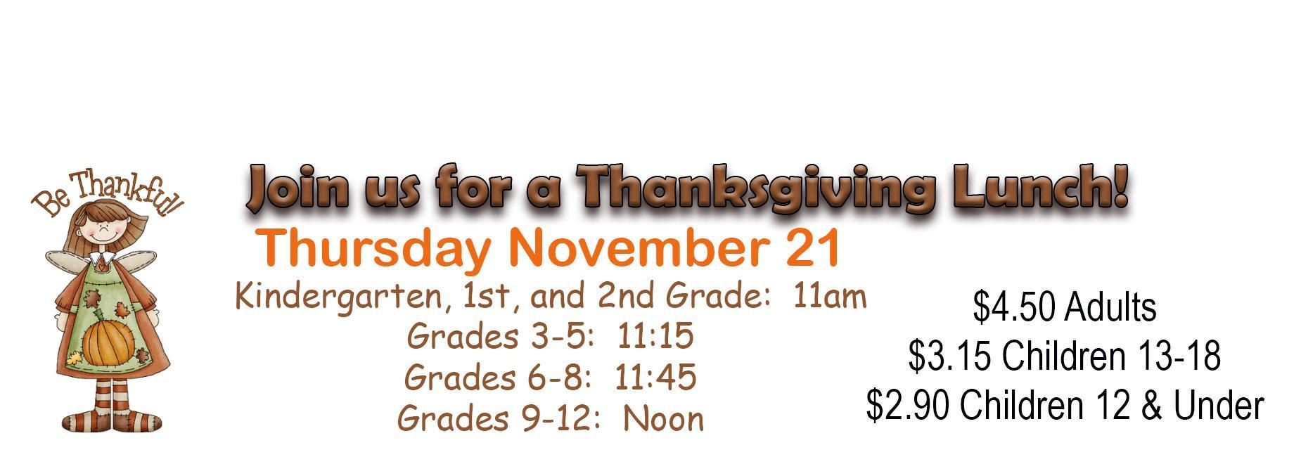 Join us for a Thanksgiving Lunch on Nov 21