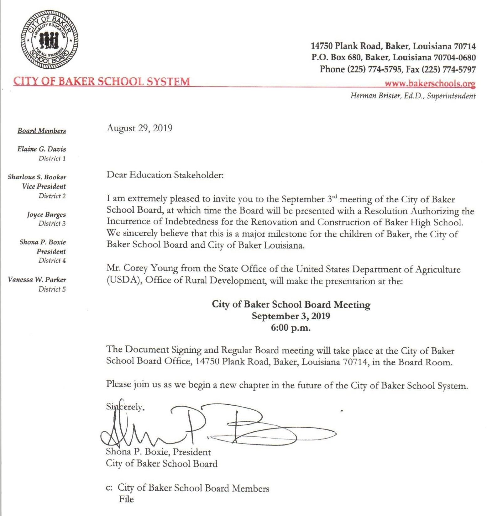 Letter from board president about BHS renovation and construction resolution