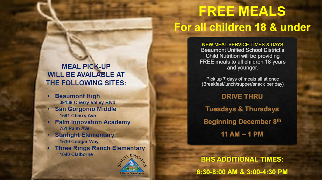 free meals to all children 18 and under