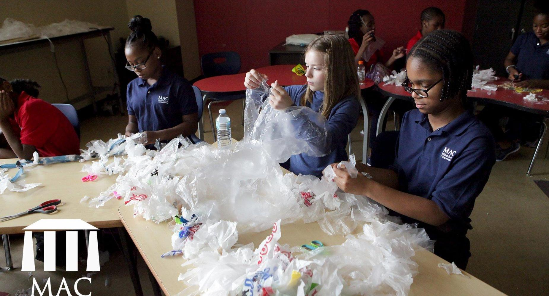 Visual Arts students create with recyclables