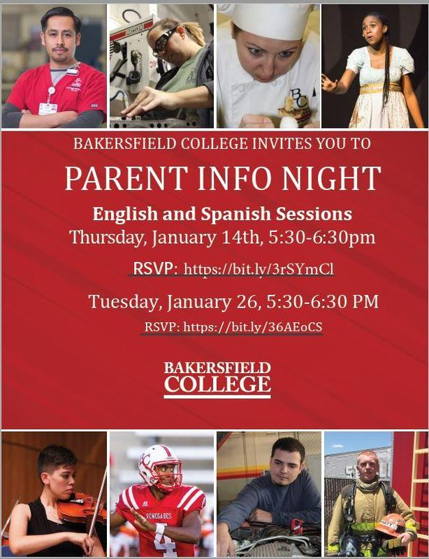Bakersfield College Invites you to PARENT INFO NIGHT Thumbnail Image