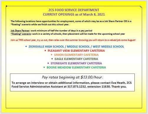 Food Service Job Openings