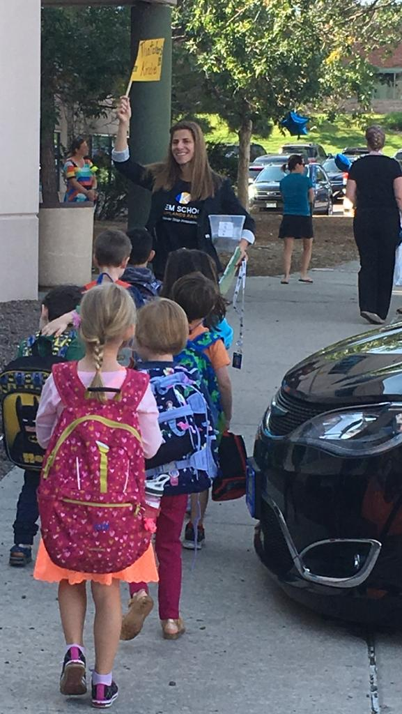 kindie first day on way to classroom