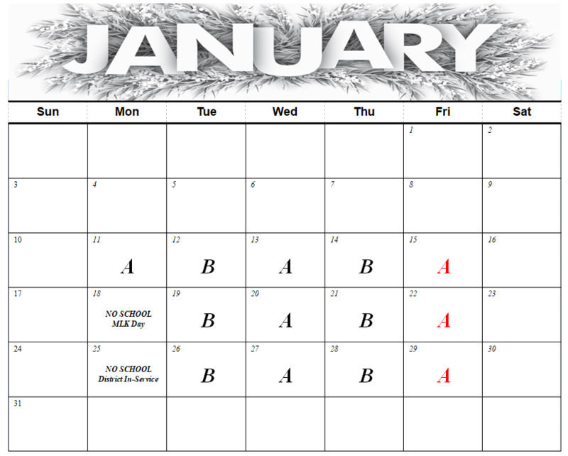 January A-Day / B-Day Schedule Featured Photo
