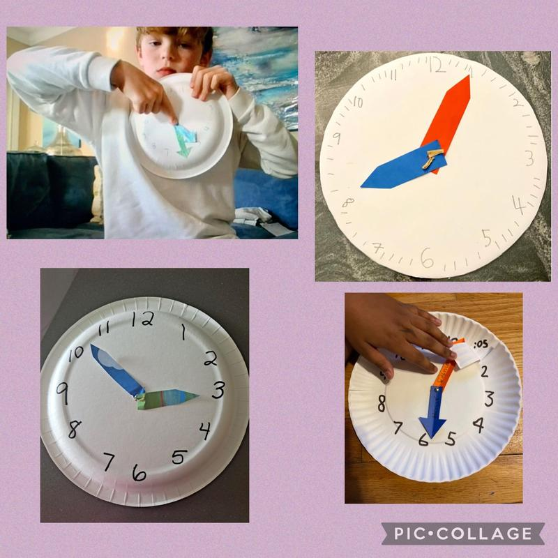 4 paper plate clocks in a collage