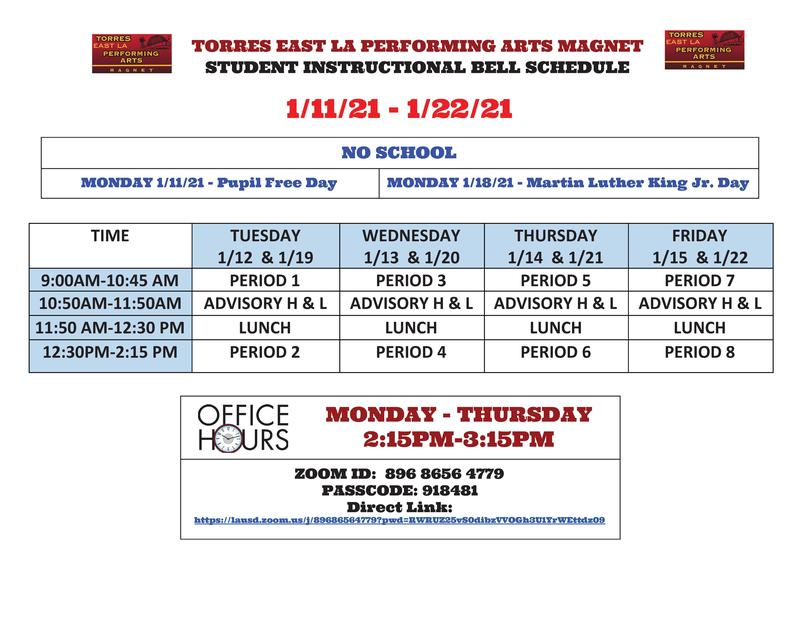 Schedule for the first 2 weeks of Spring Semester Featured Photo