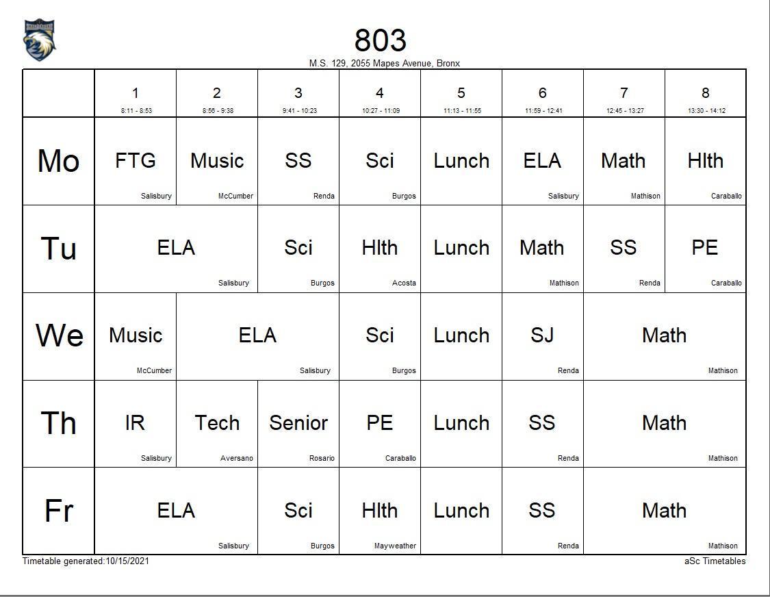 803 class schedule
