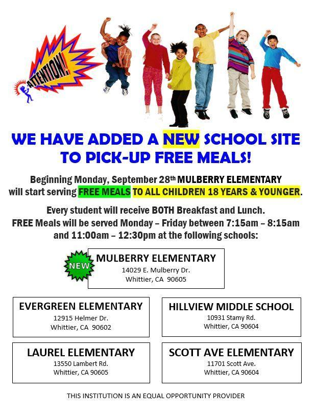 Free Meals at 5 school sites