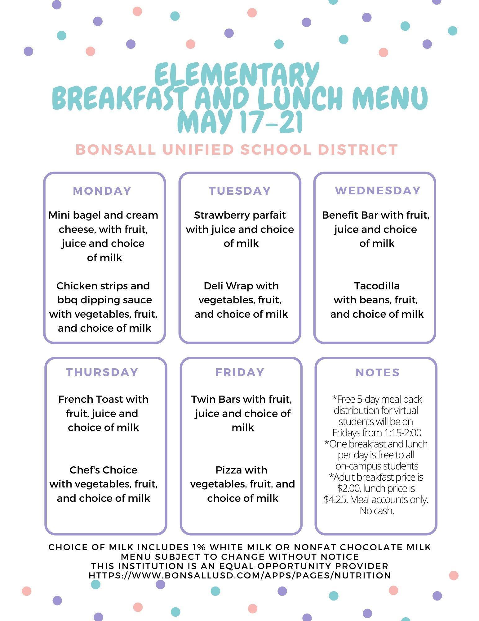 Elementary menu