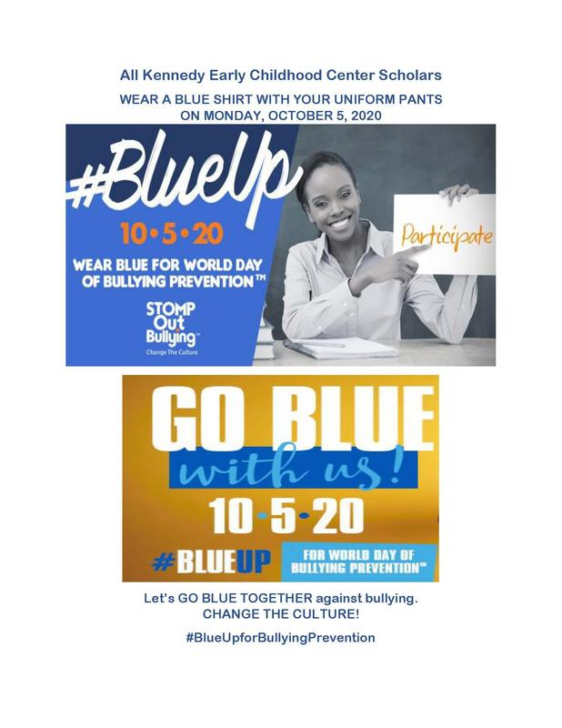 Wear a blue shirt for world bullying prevention day October 5.