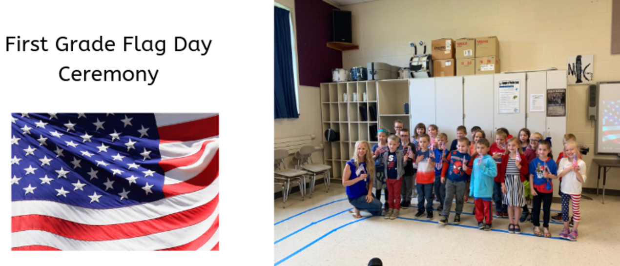 Mrs. Kull's first grade class posing for a picture with their flags
