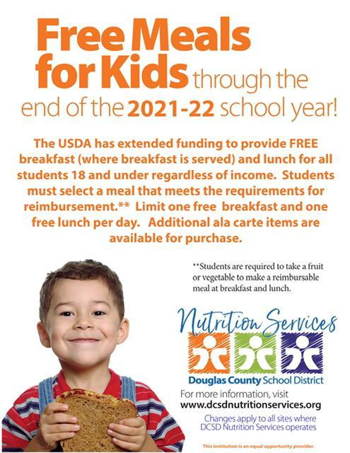 Free meals for all students during the 2021-22 school year.