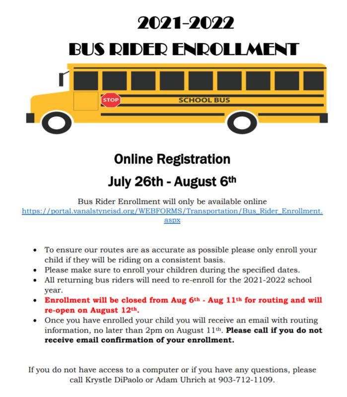 Bus Rider Enrollment July 26 - August 6 Thumbnail Image
