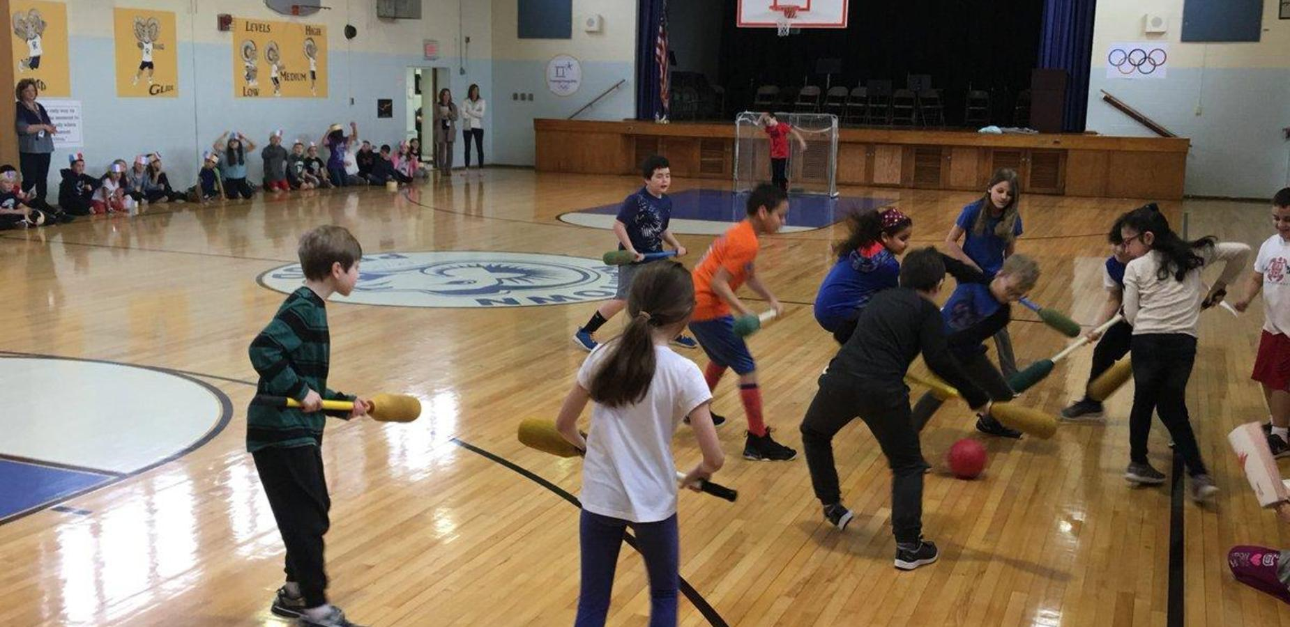 students playing in gym